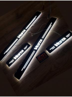 Накладки на пороги с подсветкой для LADA Vesta